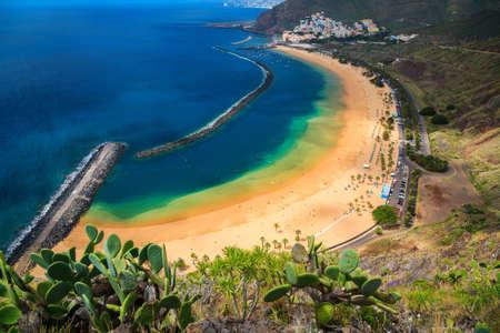 santa cruz de tenerife: sandy beach Las Teresitas near Santa cruz de Tenerife, Canary Islands, Spain Stock Photo
