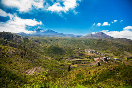 panoramic view of Valle de Arriba with mount Teide in a distance, Tenerife, Canary Islands, Spain