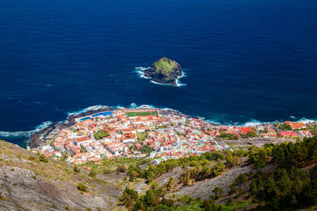 northern spain: small cozy Garachico town from above, Tenerife, Canary Islands, Spain Stock Photo