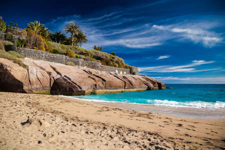 adeje: beautiful tropical sandy beach Playa Del Duque in Costa Adeje, Tenerife, Canary Islands