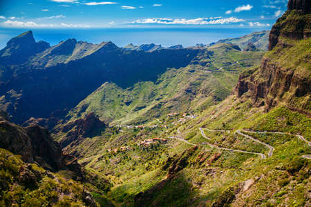 secluded: winding roads and mountains near Masca village, Tenerife, Canary Islands, Spain Stock Photo