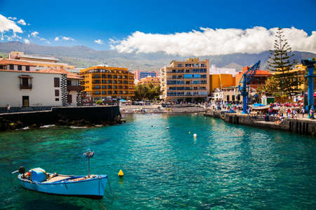 view of the old fishing port with a small beach in Puerto de la Cruz, Tenerife, Spain Stockfoto