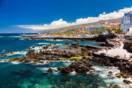 coastal view of Puerto de la Cruz in Tenerife, Canary Islands, Spain Stock Photo