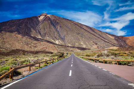 long way: long way road to the volcano Teide at the valley of National Park in Tenerife, Canary Islands, Spain Stock Photo