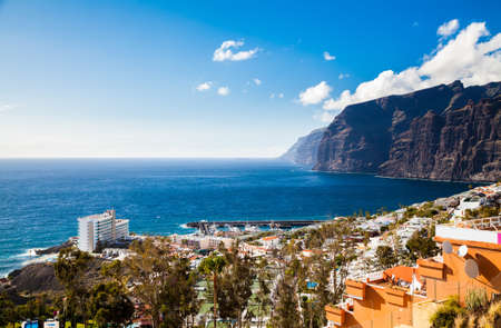 beautiful aerial landscape of Los Gigantes resort city, Tenerife, Canary Islands, Spain