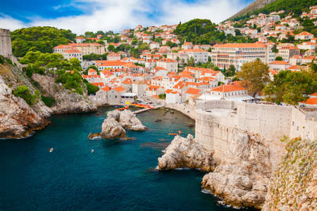 beautiful aerial view of the small cozy harbor in the old part of Dubrovnik, Croatia