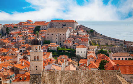 beautiful view of the part of Dubrovnik Old Town from its City Walls, Croatia