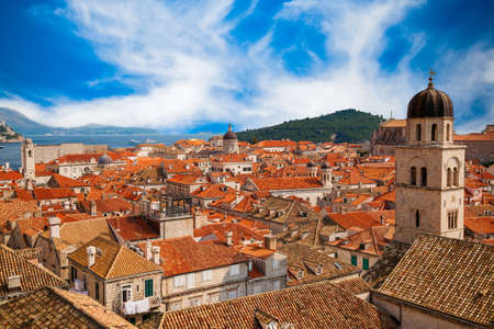 beautiful view of Dubrovnik Old town from its City Walls, South Dalmatia, Croatia