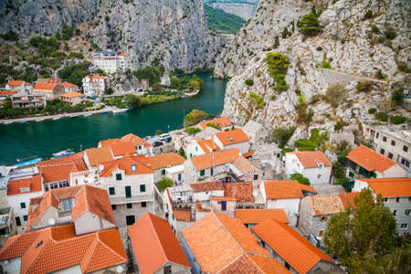 An old houses in the small town Omis and river Cetina, Makarska Riviera, Croatia 写真素材