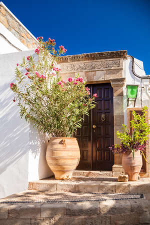 typical entrance to the residential house in Lindos, Rhodes, Greece