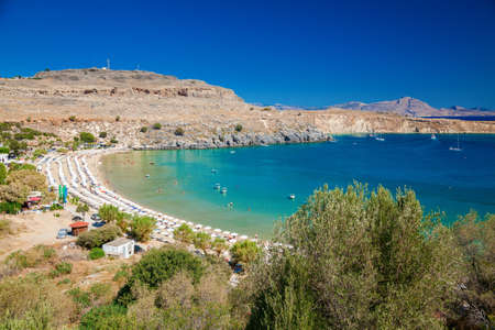 aerial view of the Lindos bay and the beach, Rhodes, Greece 免版税图像