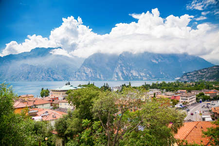 aerial view of the lake Garda from the small village Torbole, Italy