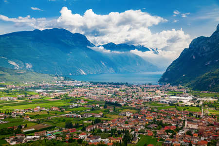 beautiful aerial view of the valley of Riva del Garda, mountains and lake Garda, Trentino, Italy
