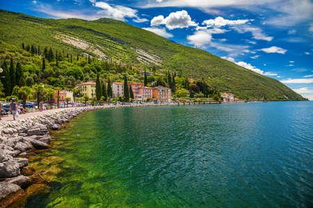 bright and green Torbole town waterfront, Garda lake,Trentino Alto Adige region, Italy Archivio Fotografico