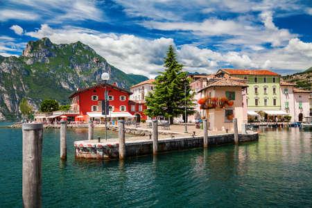 colorful Torbole town waterfront, Garda lake,Trentino Alto Adige region, Italy