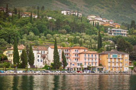 picturesque Torbole town in rainy weather, Garda lake,Trentino Alto Adige region, Italy