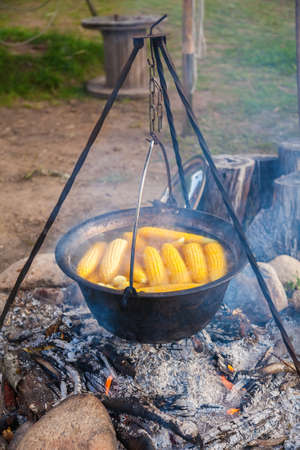 Cooking camping pot with corncobs in a boiling water over campfire. Outdoor fireplace camping concept. Traditional dinner meal preparation in nature cooking over wood fire.