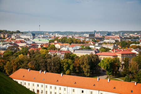 Beautiful view of the old part of Vilnius city - capital of Lithuania, from the Tower of Gediminas Stockfoto