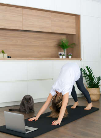 Woman standing in a downward-facing dog pose while doing yoga online at home. Her cat is watching her.
