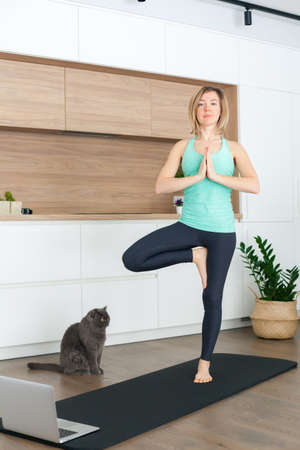 Woman standing in a Tree pose while doing yoga online at home. Her cat is watching her. Stockfoto
