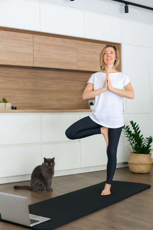 Woman in white t-shirt standing in a Tree pose while doing yoga online at home. Her cat is watching her. Stockfoto