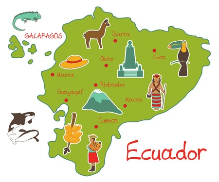 vector illustration of map of ecuador with typical features Ilustração