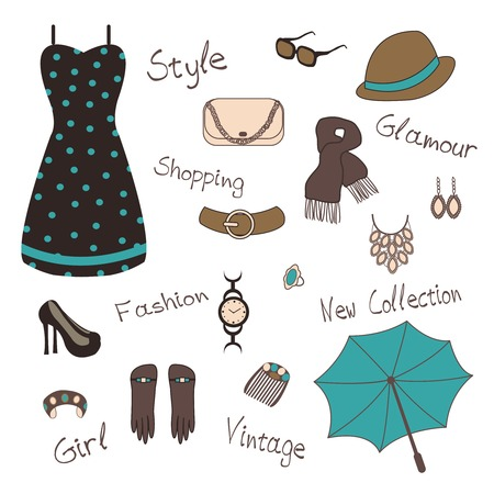 Vector illustartion of woman  s  accessories such as jewelry, bag Vector