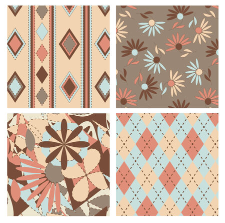 Set of vector seamless patterns with tartan and flowers Vector