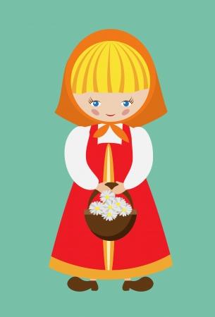Vector illustratie van Russisch meisje gekleed in sarafan met een mandje van madeliefjes