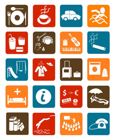 hotel icons: Vector set of icons for public places Illustration