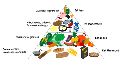 piramide alimenticia: Ilustración vectorial de diagrama de alimentos y la dieta saludable Vectores