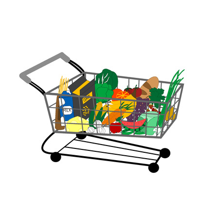retailers: Vector illustration of shopping cart full of food