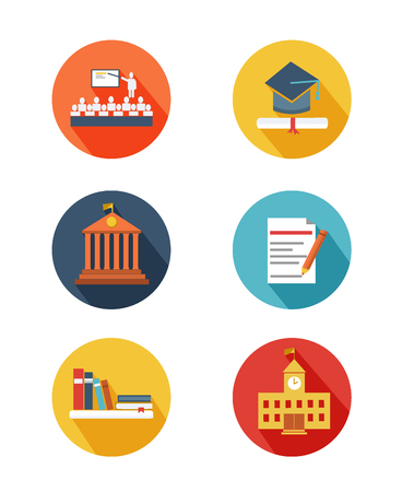 university sign: Vector illustration of education icons flat design Stock Photo