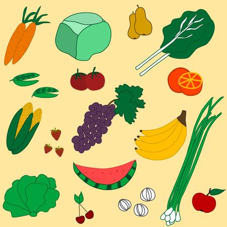 garden stuff: illustration of seamless pattern of fruits and vegetables Illustration