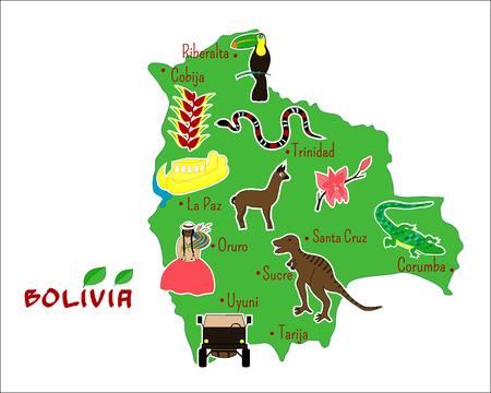mapa de bolivia: ilustración vectorial de mapa de Bolivia con las características típicas