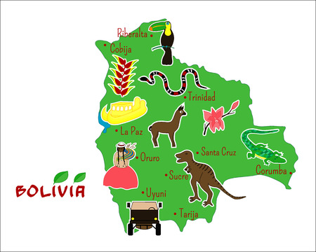 vector illustration of map of Bolivia with typical features Vector