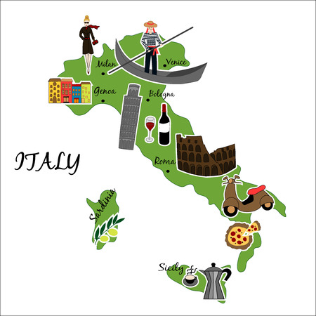 Vector illustration of map of Italy with typical features Vector