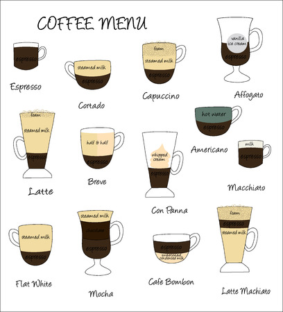 cortado: Vector illustration of different espresso coffee drinks