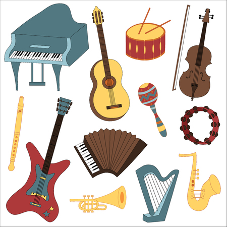 Vector illustration of the collection of musical instruments Vector