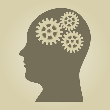 cog wheel: Vector illustration of human head silhouette with gears