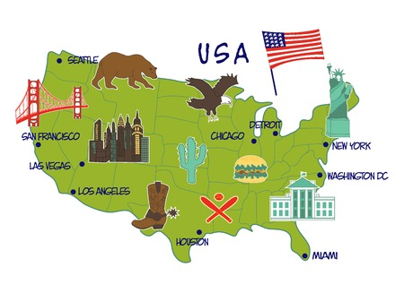houston flag: vector illustration of map of USA with typical features Illustration