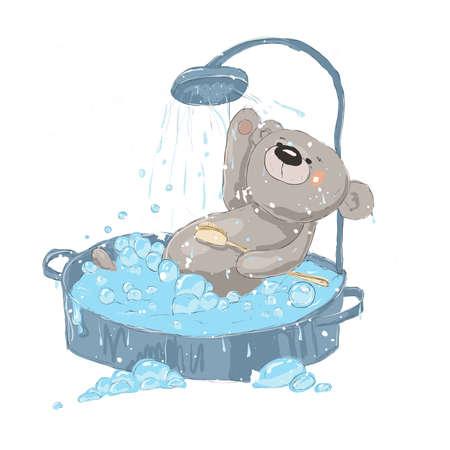 Cute wet bear bathes in foam on a white background