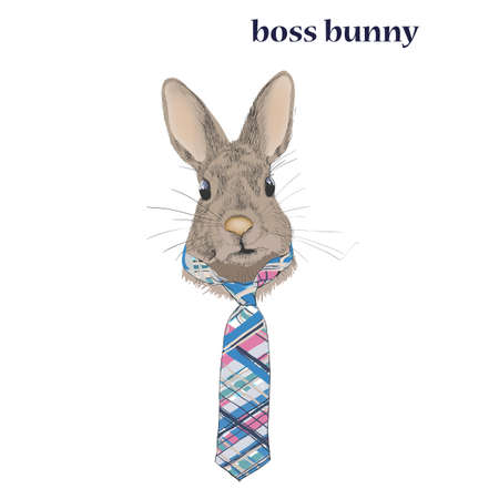 Vector cute Bunny in a tie
