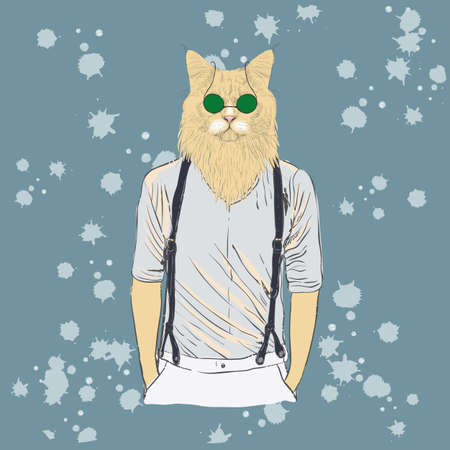 Vector cute cat with glasses on a white background