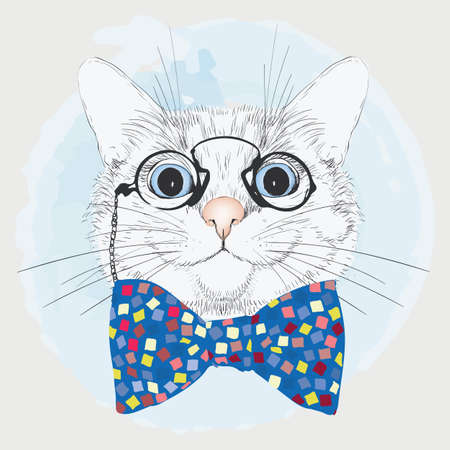 Illustration of a cute cat in a blue bow on a white background