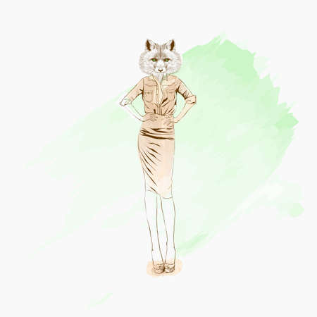 Fashion vector illustration of foxy girl dressed