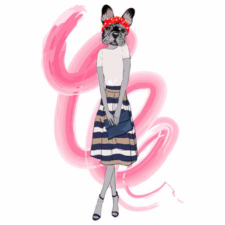French bulldog girl dressed up in retro style, furry art vector illustration