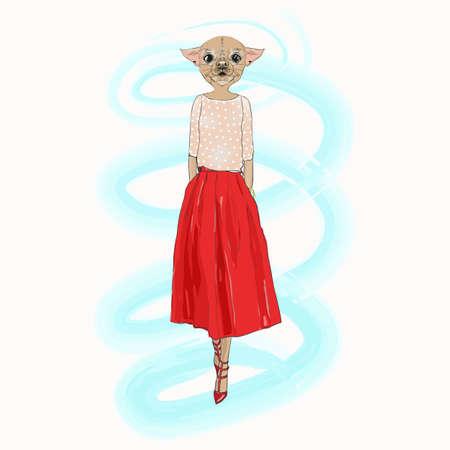 Dog hipster girl, fashion animal vector illustration. Vogue style. 일러스트