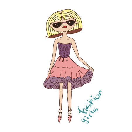 Vector illustration of a cute girl in glasses and skirt Illustration