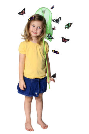 Little girl with butterfly net and butterflies isolated on white Stock Photo - 3596334